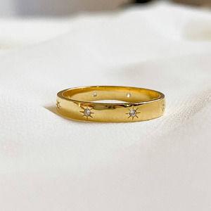 Gold 925 Sterling Sun CZ Diamond Ring
